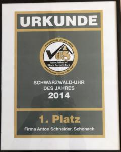 Urkunde Kuckucksuhr des Jahres 2014 - Sieger Anton Schneider